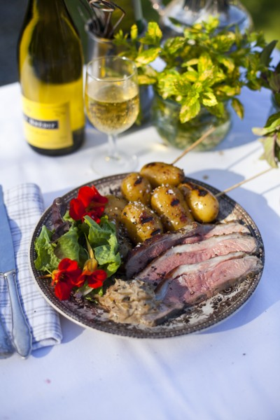Butterflied Lamb with Yoghurt & Mint with Charred Honey Mustard-Glazed Potatoes
