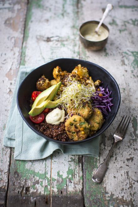 Roast Cauliflower & Falafel Bowl | DonalSkehan.com, A great lunch or dinner jam packed with veggies.