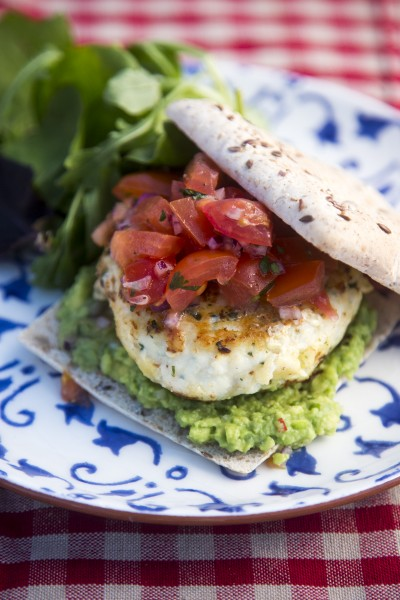 Fish Burgers with Tomato Salsa & Guacamole