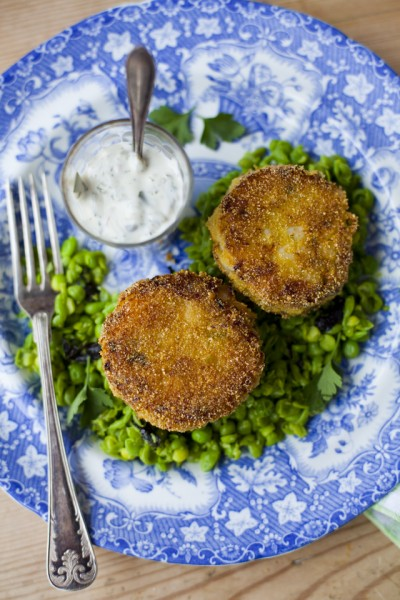 Smoky Fish Cakes with Minty Peas and Tartare Sauce