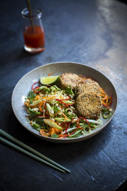 Asian Fish Cakes with Cucumber & Carrot Salad | DonalSkehan.com, Hot, salty, sweet and sour are balanced perfectly in this classic dish.