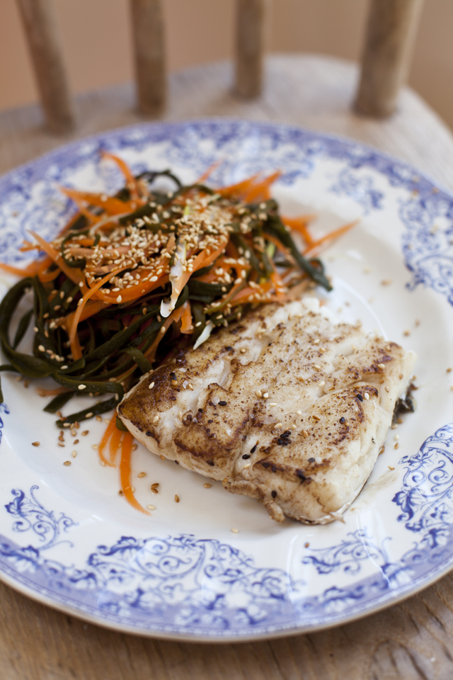 Pan Fried Hake with Carrot and Sea Spaghetti Salad | DonalSkehan.com, A fresh, healthy fish supper.
