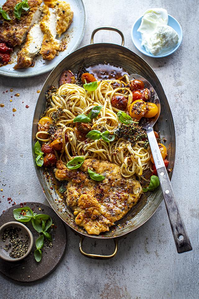 Florentine Butter Chicken with Burst Cherry Tomatoes, Basil & Mozzarella | DonalSkehan.com