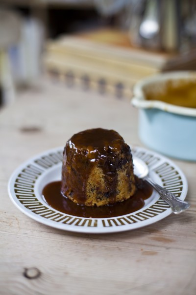 Chocolate Chip Banana Bread Puds with Salted Caramel Sauce