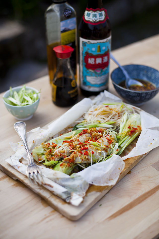 Teriyaki Mackerel Steam Parcels with Bok Choy and rice noodles | DonalSkehan.com, This has to be one of the easiest and most exciting ways of cooking a fish fillet.