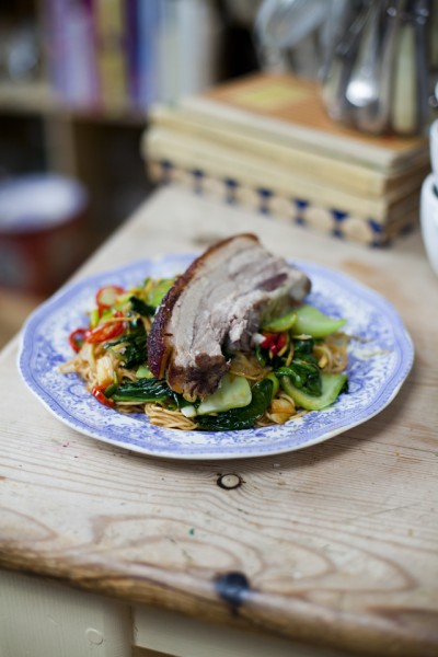 Chinese Five-spice Pork Belly with Chilli Noodles and Asian Greens