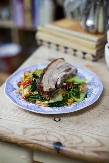 Chinese Five-spice Pork Belly with Chilli Noodles and Asian Greens | DonalSkehan.com, Crispy crackling and tender pork belly...Perfection!