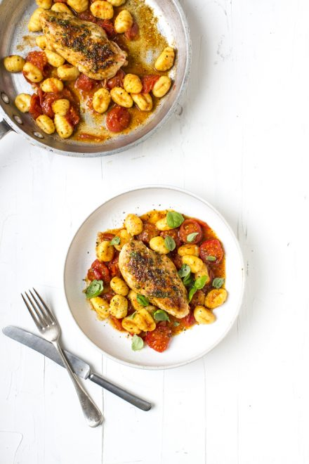 Garlic & Rosemary Chicken | DonalSkehan.com, With Confit Butter Tomato Sauce and Gnocchi