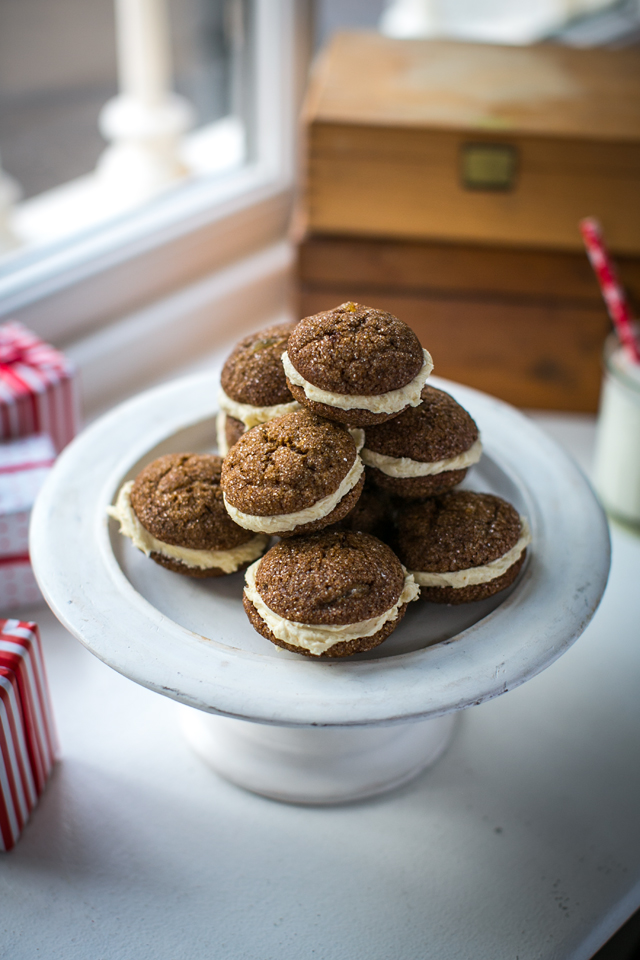 Gingerbread Sandwich Cookies | DonalSkehan.com, These little Christmas cookies are soft, chewy and gently spiced.