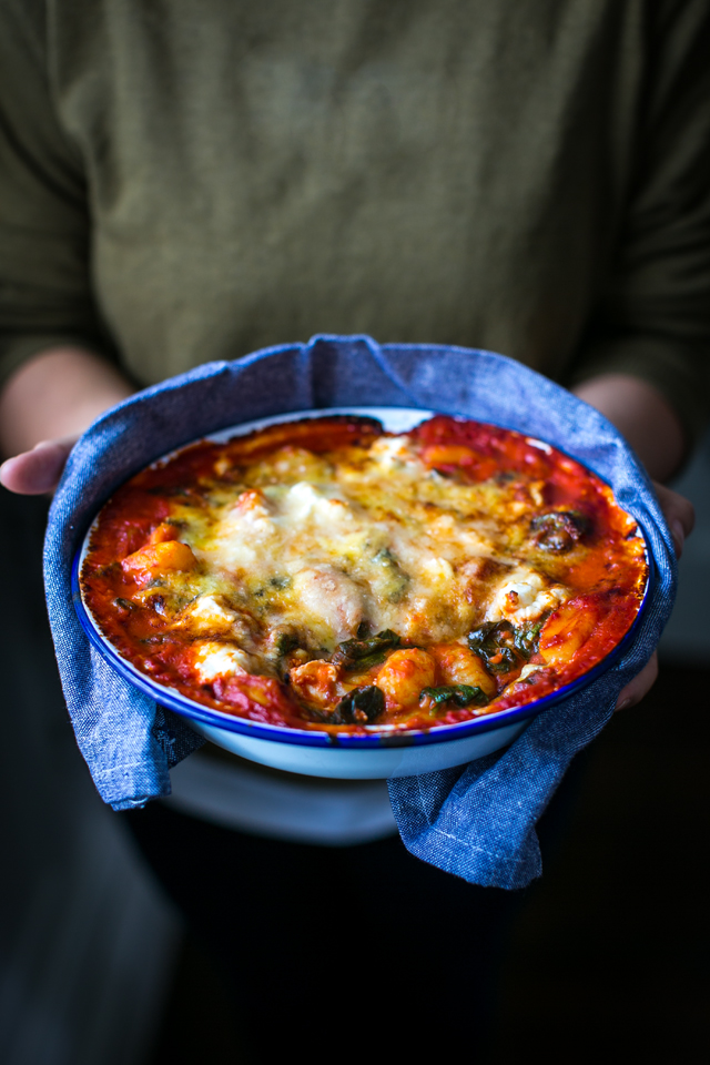 Baked Tomato Gnocchi   DonalSkehan.com, A cheesy, comforting gnocchi dish the whole family will love.