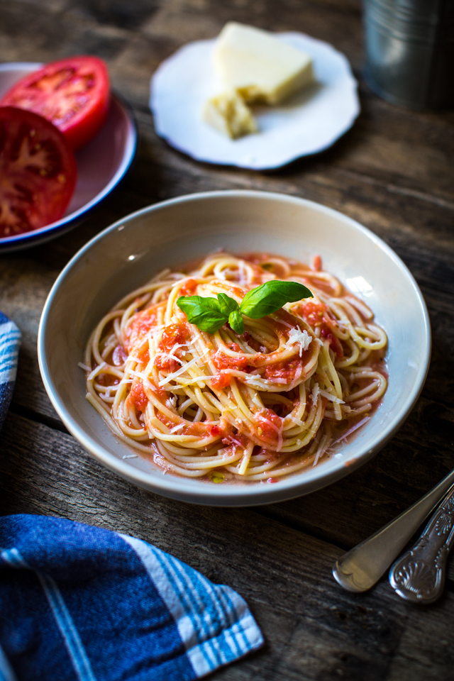 Grated Tomato Pasta | DonalSkehan.com, Short on time and inspiration? You're six ingredients and fifteen minutes away from supper!