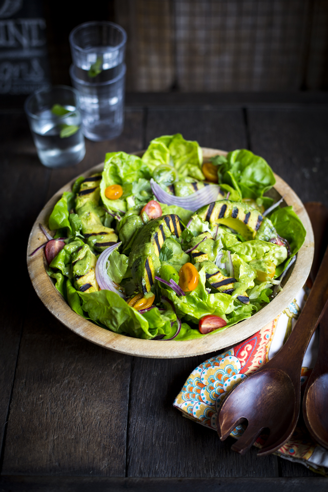 Green Goddess Grilled Avocado Salad | DonalSkehan.com, Because none of us can get enough avocados!