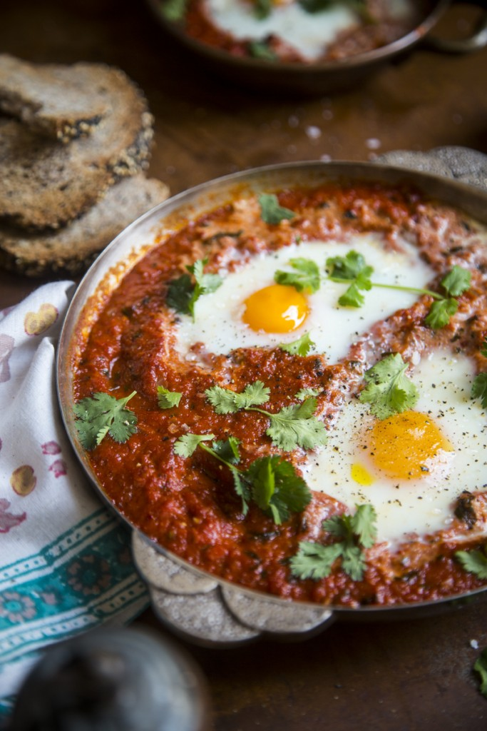 Harissa Baked Eggs | DonalSkehan.com, Enjoy this healthy, comforting baked egg recipe for breakfast, brunch, lunch or dinner.