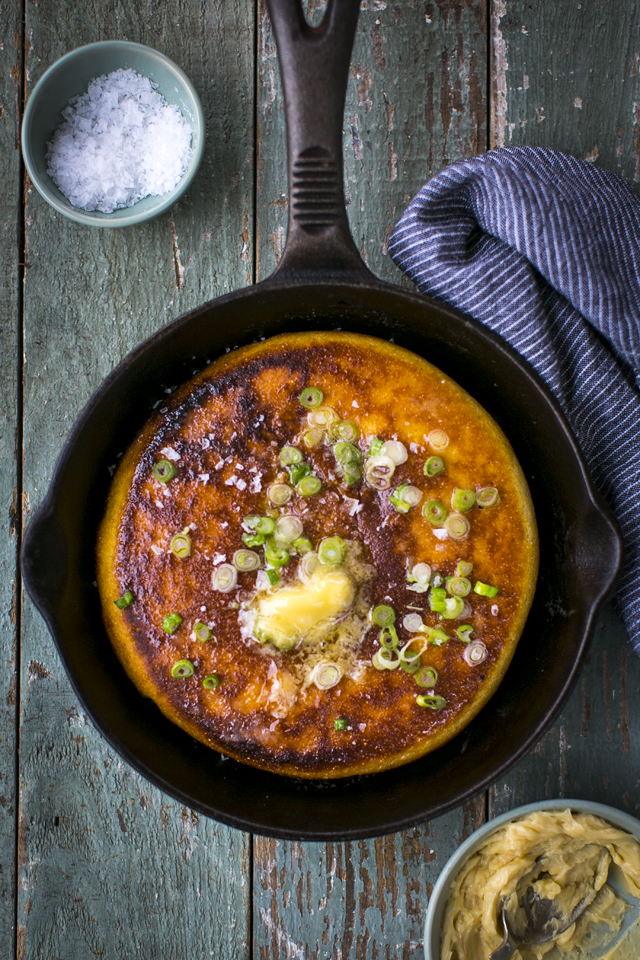 Cornbread with Maple Butter & Spring Onions | DonalSkehan.com, My take on the American Hoecake.