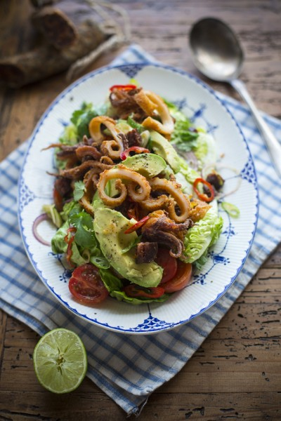Crispy Squid & Chorizo Salad with Deconstructed Guacamole