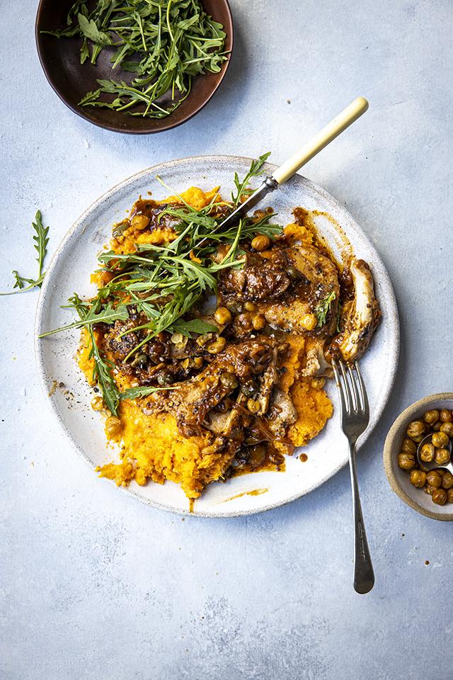 Honey & Mustard Chicken Salad Bowl With Sweet Potato Mash, Rocket & Crispy Chickpeas | DonalSkehan.com