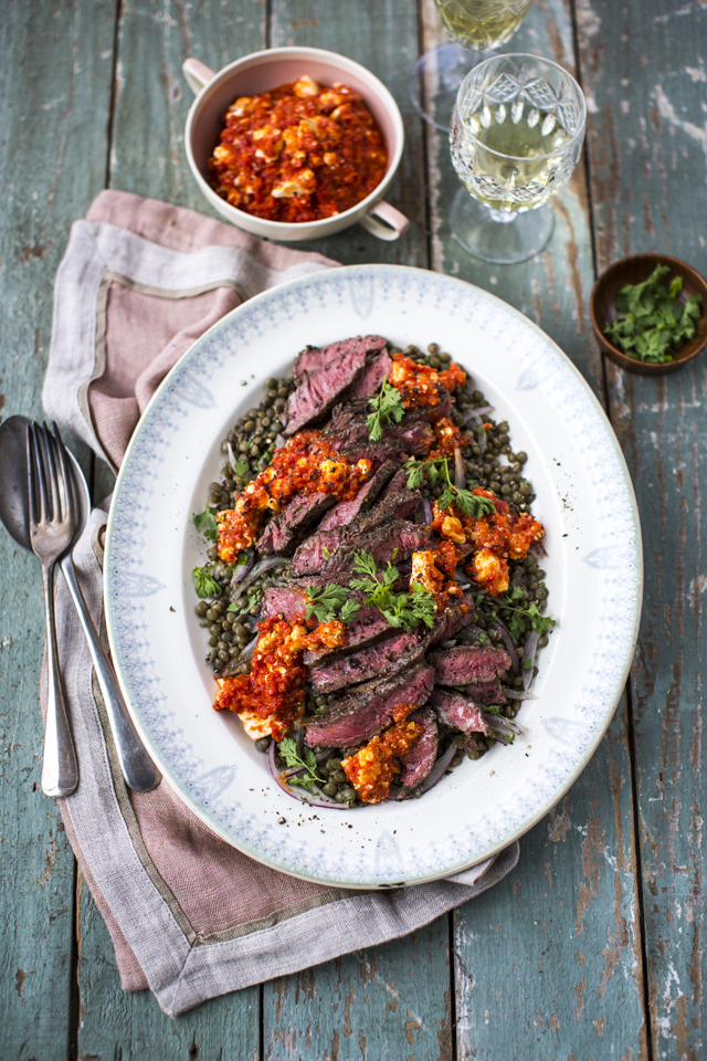 Griddled Beef with Htipiti Spread & Lentil Salad | DonalSkehan.com, Impressive main for any dinner party.