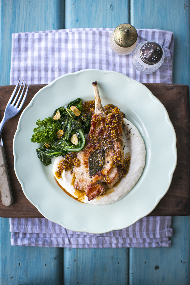 Honey & Mustard Hump Back Pork Chops, Cauliflower Mash & Sautéed Greens | DonalSkehan.com, Taking the humble pork chop up a notch with a honey mustard glaze and creamy mash.