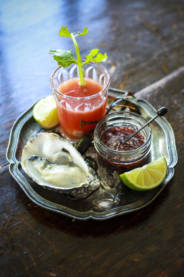 Bloody Mary Oyster Shooters with Raw Oysters and a Shallot Mignonette | DonalSkehan.com, An impressive dinner party canapé or starter to share with friends.