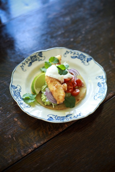 Beer Batter Fish Tacos with Cherry Tomato Salsa