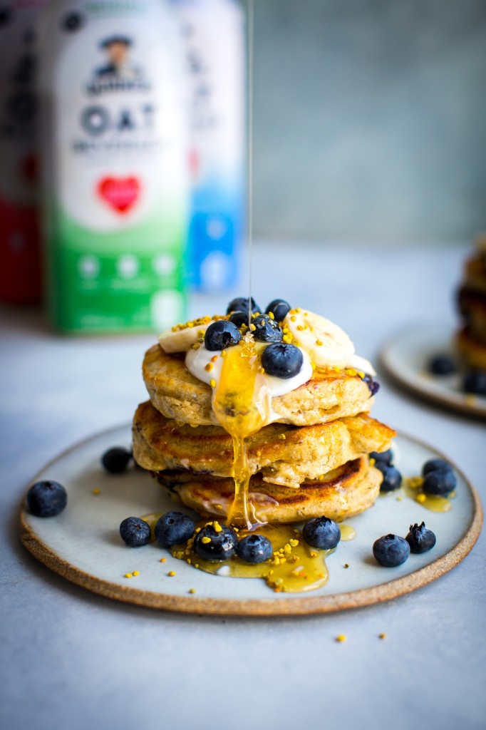 Oats & Blueberry Pancakes | DonalSkehan.com, A fluffy  pancake recipe made with a healthy dose of oat beverage and oat flour.