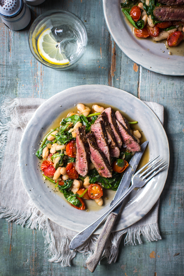 "Rosemary Lamb Steaks with Quick Bean Stew | DonalSkehan.com, When I say ""quick"", I mean quick - this meal is ready in five low-effort minutes!"