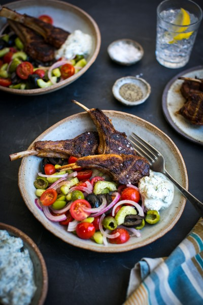 Spiced lamb chops with Tzatziki & Greek Salad