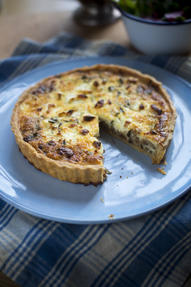 Goats Cheese, Red Onion and Thyme Quiche | DonalSkehan.com, Perfect to bring on a picnic.