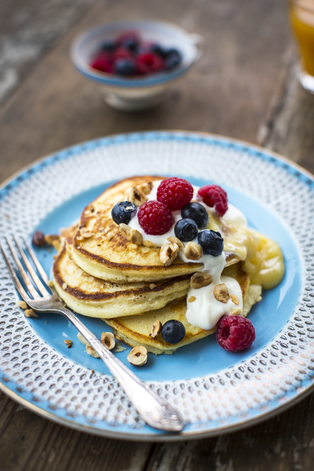Ricotta Pancakes with Lemon Curd | DonalSkehan.com, A nice change from traditional pancakes.