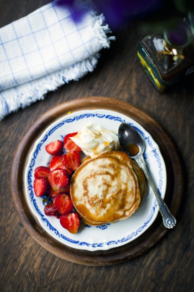 Lemon and Poppyseed Pancakes with Strawberries, Apple Syrup and Vanilla Mascarpone