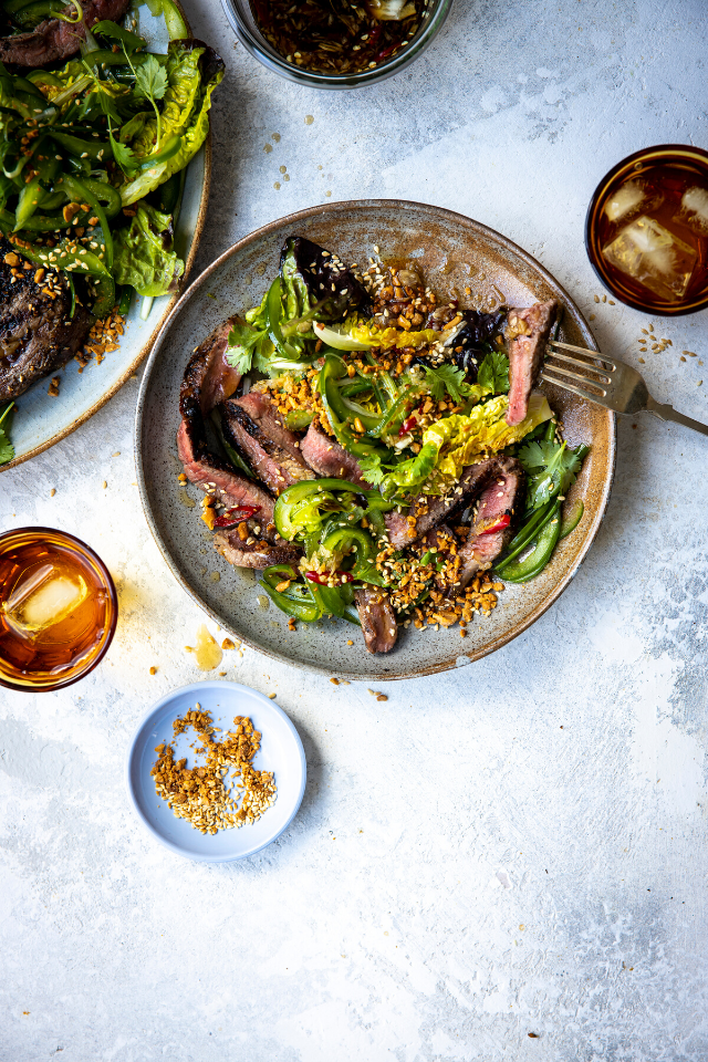 Fish Sauce Steak Platter with Chilli & Peanut, Lettuce and Green Pepper & Scallion Slaw | DonalSkehan.com