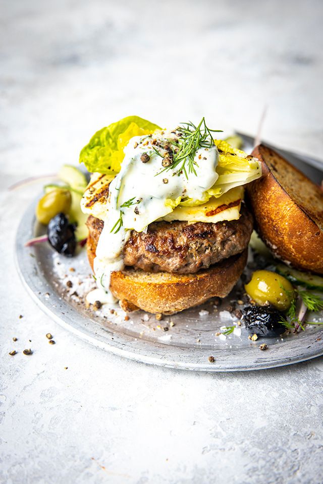 Lamb Burger with Tzatziki & Good Greek Salad | DonalSkehan.com