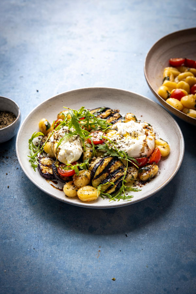 Grilled Aubergine Gnocchi Balsamic Tomatoes & Burrata | DonalSkehan.com