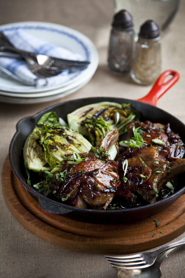 Maple Pork Chops With Griddled Baby Gem Lettuce | DonalSkehan.com, Liven up a plain old pork chop with this sweet & sticky glaze!