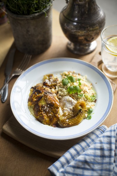 Baked Indian Chicken with Cardamom, Coriander and Almond Couscous