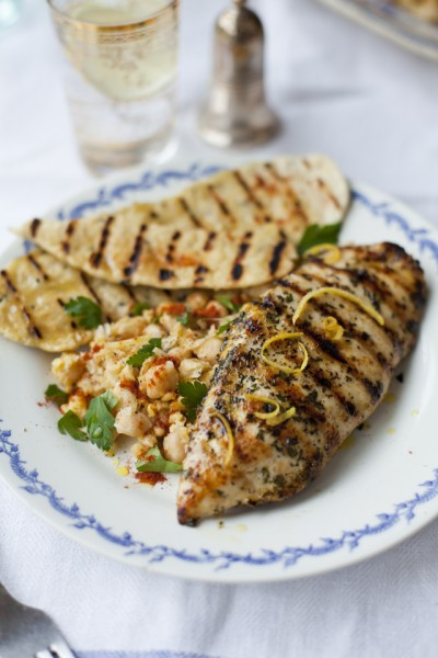 Lemon and Mint Griddled Chicken with Spiced Chickpeas and Flatbreads