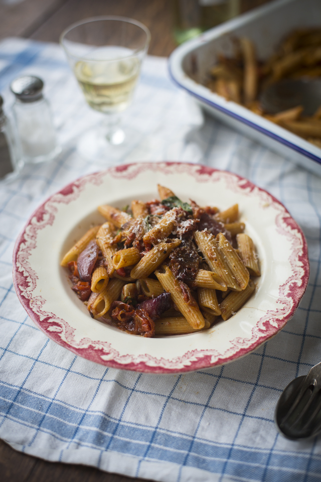 One Pan Mushy Tomato & Garlic Penne Pasta | DonalSkehan.com, Roasting this sauce in the oven, instead of simmering it on the hob, makes this dinner a great fuss-free option.