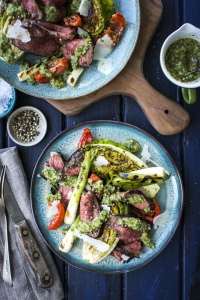 Griddled Skirt Steak with Griddled Gem, Spring Onions & ChimmiChurri Sauce