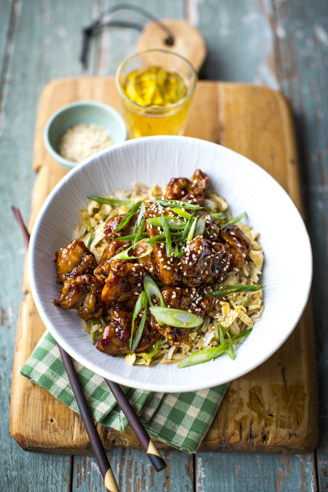 Lighter Orange Chicken with Fried Rice | DonalSkehan.com, A somewhat lighter take on the classic.