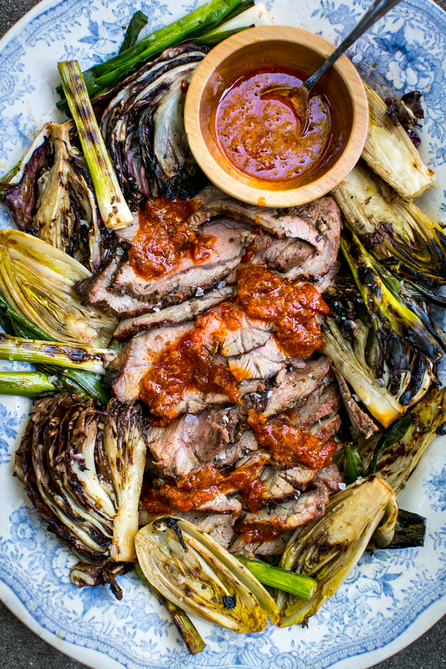 Orange Harissa BBQ Lamb with Charred Greens | DonalSkehan.com, Really impressive and simple main for your summer BBQ party!