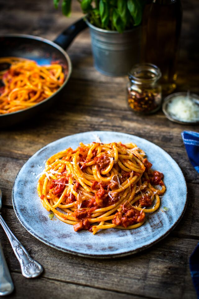 Spaghetti all'Arrabiata | DonalSkehan.com, This pasta recipe is a great one to have up your sleeve - it's made almost entirely from storecupboard ingredients, it's super-quick to make and yet still has a satisfying depth of flavour