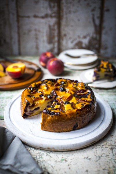 Peach & Blueberry Pound Cake | DonalSkehan.com, Summer served in cake form!