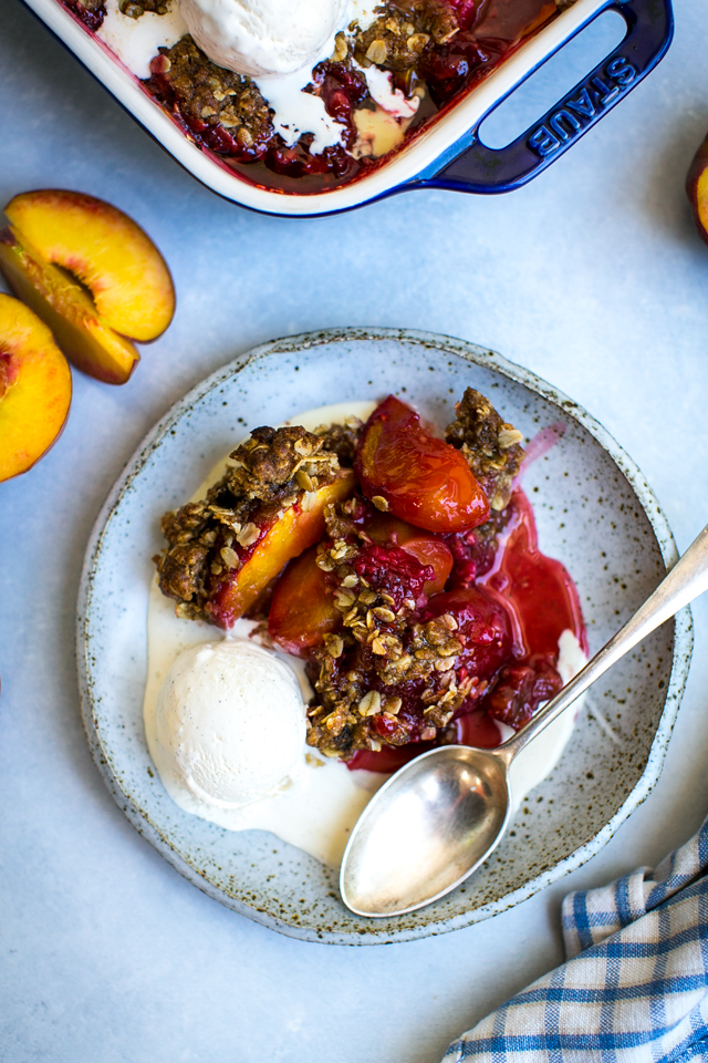 Peach & Raspberry Oat Crumble | DonalSkehan.com, A Summer crumble recipe made with two of the season's most delicious fruits.