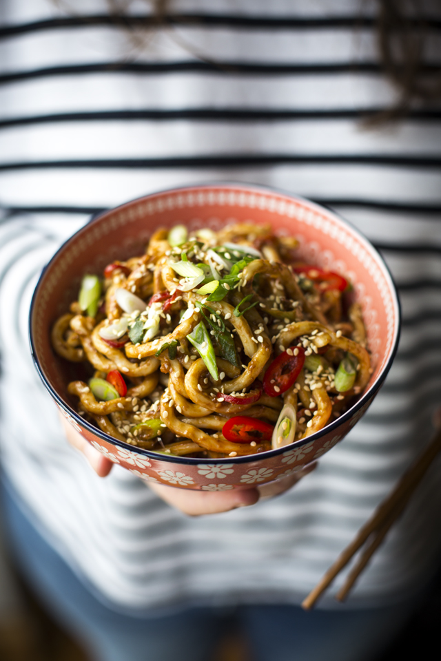 Hot & Spicy Peanut Butter Noodles | DonalSkehan.com, A savoury Asian noodle recipe for all you peanut butter fiends out there!