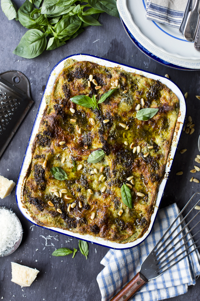 Green Bean, Potato & Pesto Lasagne | DonalSkehan.com, A vegetarian alternative to traditional lasagne but the meat eaters won't be complaining when you serve this up!