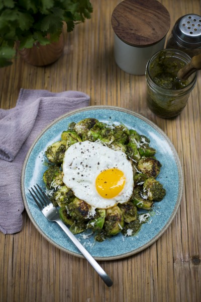 Fried Eggs with Brussel Sprouts & Pesto