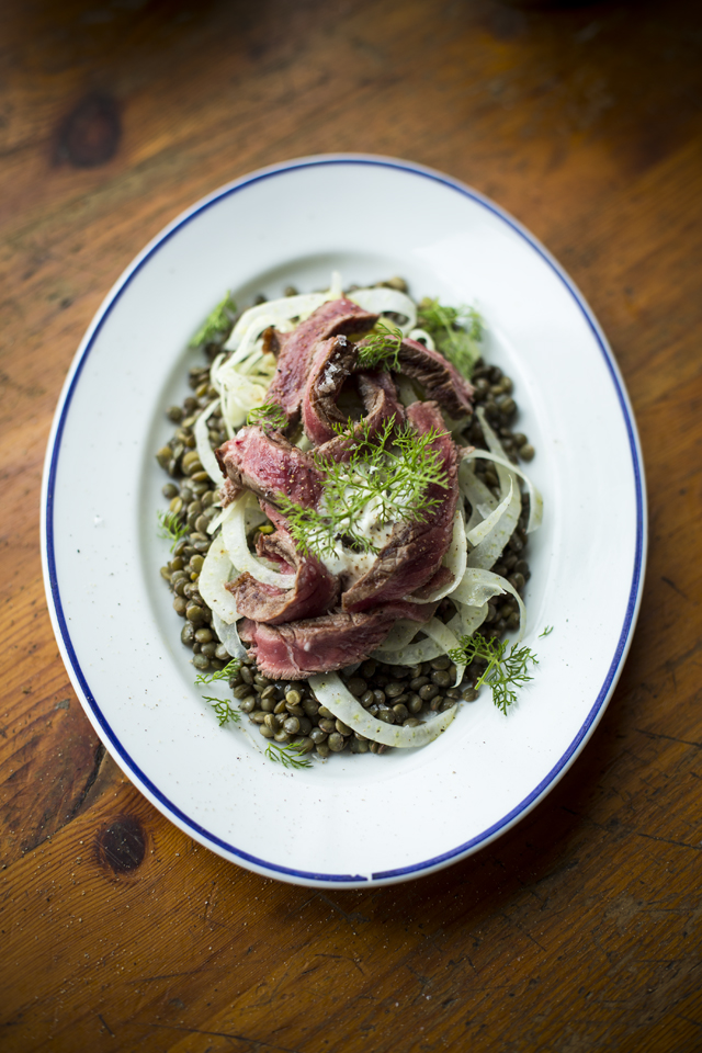 Rosemary Rib-Eye Steak with Horseradish Fennel Salad   DonalSkehan.com, A light and fresh steak salad.