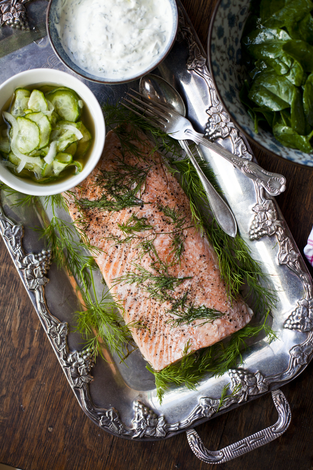 Poached Salmon with Cucumber Pickle and Dill Creme Fraiche | DonalSkehan.com, Amazing Scandinavian inspired Christmas dish.