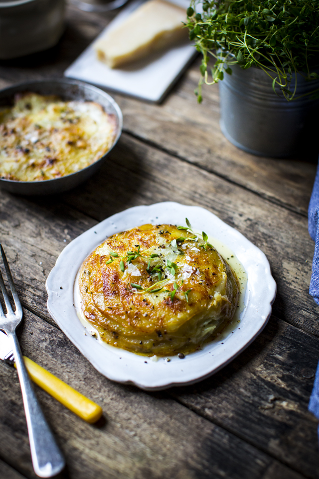 Pommes Anna | DonalSkehan.com, This classic French side dish is made simply by piling up thinly sliced potatoes with lots of butter. Once you