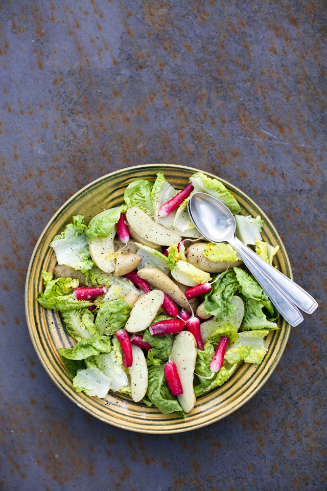 Warm Potato and Radish Salad with a French Dressing | DonalSkehan.com, A nice change from the traditional mayo version we're used to.
